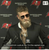Watch Out, Watch, and Raymond James: RAYMOND JAMES  STADIUM  B R  10  S1  RAYMOND JAMES  STADIUM  RAYMOND JAMES  STADIUM  RAYM  RAYMC  ST  NI !  NFLN  >>Fitzpatrick: Look at me. I'm the captain now. Watch out, Jameis 😂