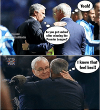 Mourinho knows😳... ⚠️Soccer Emoji's --> LINK IN OUR BIO!: Rb.com/  TrollFootballMedia  So you got sacked  after winning the  Premier League  Yeah!  I know that  feel bro!! Mourinho knows😳... ⚠️Soccer Emoji's --> LINK IN OUR BIO!