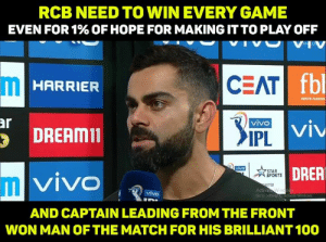 Man of the match <3: RCB NEED TO WIN EVERY GAME  EVEN FOR 1% OF HOPE FOR MAKING IT TO PLAY OFF  VHV  fbl  CEAT  HARRIER  INDUS FASHION  ar  DREAMin  IPL  DRER  STAR  SPORTS  VIVO  IIL  STER  Activa  Go to Setting  vivo  AND CAPTAIN LEADING FROM THE FRONT  WON MAN OFTHE MATCH FOR HIS BRILLIANT 100 Man of the match <3