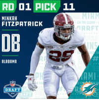 Clock, Espn, and Memes: RD 01 PICK 11  MINKAH  FITZPATRICK  * ON THE CLOCK .  BAMA a  RAFT  018  DB  TH  ALABAMR  HEB  NFL  DRAFT  2018  RAFT  DI  2018 With the #11 overall pick in the 2018 #NFLDraft, the @MiamiDolphins select #MinkahFitzpatrick (@minkfitz_21)!  📺: NFLN/FOX/ESPN https://t.co/bM0IHlznZR