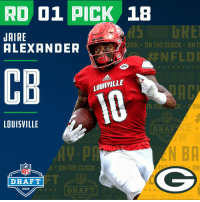 Clock, Espn, and Memes: RD 01 PICK 18  JAIRE  ALEXANDER  OCK ON THE CLOCK ONT  #NFLD  ACC  CB  LOUISYILLE  ON  LOUISVILLE  DRAF  2018  AV-p  N BA  NFL  ★ ON THE CLOCK-  ON  FT  ★ ★ ★ DRAFT  DRAFT  2018  2018 With the #18 overall pick in the 2018 #NFLDraft, the @packers select #JaireAlexander (@JaireAlexander)!  📺: NFLN/FOX/ESPN https://t.co/clwdsVjfle