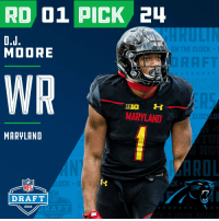 With the #24 overall pick in the 2018 #NFLDraft, the @Panthers select WR #DJMoore (@idjmoore)!  📺: NFLN/FOX/ESPN https://t.co/Qxog59WnaV: RD 01 PICK 2  MOORE  WR  BIG  MARYLAND  MARYLAND  ROL  K *  NFL  DRAFT  2018 With the #24 overall pick in the 2018 #NFLDraft, the @Panthers select WR #DJMoore (@idjmoore)!  📺: NFLN/FOX/ESPN https://t.co/Qxog59WnaV