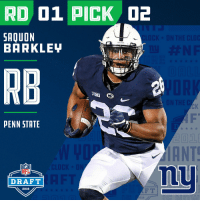 .@SAQUON!  With the #2 overall pick in the 2018 #NFLDraft, the @Giants select Saquon Barkley!  📺: NFLN/FOX/ESPN https://t.co/m969yr01pR: RD 01 PICK 2  SAQUON  BARKLEH  RB  PENN STATE  ANT  nu  NFL  DRAFT  2018  018 .@SAQUON!  With the #2 overall pick in the 2018 #NFLDraft, the @Giants select Saquon Barkley!  📺: NFLN/FOX/ESPN https://t.co/m969yr01pR