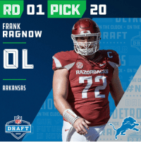 With the #20 overall pick in the 2018 #NFLDraft, the @Lions select #FrankRagnow (@KNARFWONGAR)!  📺: NFLN/FOX/ESPN https://t.co/JkYlTmfx62: RD 01 PICK 20  FRANK  RAGNOW  N THE CLOCK ON THE  RAFT  RAZORBACKS  K ON T  ARKANSAS  DAL  N THE CLOC  NFL  DRAFT  2018  DRA With the #20 overall pick in the 2018 #NFLDraft, the @Lions select #FrankRagnow (@KNARFWONGAR)!  📺: NFLN/FOX/ESPN https://t.co/JkYlTmfx62