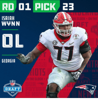 Clock, Espn, and Memes: RD 01 PICK 23  SAIAH  WYNN  HE CLOCK ON THE  DAWGS  DR  OL  13  GEORGIA  N THE CLOCK D  NFL  DRAFT  2018 With the #23 overall pick in the 2018 #NFLDraft, the @Patriots select #IsaiahWynn (@iwynn77)!  📺: NFLN/FOX/ESPN https://t.co/JNiXESa33L