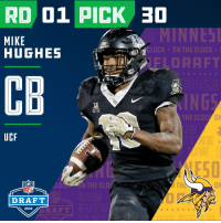 Clock, Espn, and Memes: RD 01 PICK 30  MIKE  HUGHES  52  CLOCK  ON THE CLOCK  FLDRAFT  2018  CB  THE CLOC  UCF  ESD  LOON THE CLOF  TH  ON  NFL  DRAFT  NFL  2018  ORAF T  2018 With the #30 overall pick in the 2018 #NFLDraft, the @Vikings select CB #MikeHughes (@_Bigmikee1)!  📺: NFLN/FOX/ESPN https://t.co/jfnfE12HZd