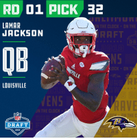 Clock, Espn, and Memes: RD 01 PICK 32  LAMAR  JACKSON  N THE CLOCK UN THE  RAFT  ACC  OB  NS  OCK DN T  LOUISVILLE  ENS  AVE  N THE CLOCK  O IN THE  NFL  DRAFT  2018  ORAFT  2018 With the #32 overall pick in the 2018 #NFLDraft, the @Ravens select QB #LamarJackson (@Lj_era8)!  📺: NFLN/FOX/ESPN https://t.co/iTxTT9dANE
