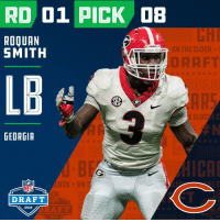 Clock, Espn, and Memes: RD 01 PICK D8  ROQUAN  SMITH  DAWGS  ON THE CLOCK  DRAFT  LB  E CLOC  GEORGIA  BCK ON  NFL  DRAFT  RAFT  2018  2018 With the #8 overall pick in the 2018 #NFLDraft, the @ChicagoBears select #RoquanSmith (@RoquanSmith1)!   📺: NFLN/FOX/ESPN https://t.co/stVKpzRmnK