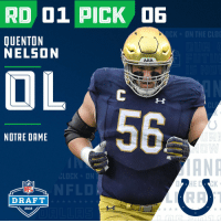 Clock, Indianapolis Colts, and Espn: RD 01 PICK DE  CK ON THE C  QUENTON  NELSON  ARA  CL  56  NOTRE DAME  ANR  CLOCK ON  NFL  DRAFT  2018 With the #6 overall pick in the 2018 #NFLDraft, the @Colts select Quenton Nelson (@BigQ56)!  📺: NFLN/FOX/ESPN https://t.co/77VNBWFSi7