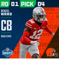 Clock, Espn, and Memes: RD 01 PICK O  DENZEL  WARD  CLOCK-DNTI  CB  ELA  ON  OHIO STATE  月5己  KON  CLOC  NFL  DRAFT  2018 With the #4 overall pick in the 2018 #NFLDraft, the @Browns select @denzelward!   📺: NFLN/FOX/ESPN https://t.co/NPwaHjZkdu