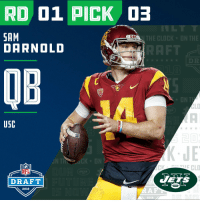 With the #3 overall pick in the 2018 #NFLDraft, the @nyjets select Sam Darnold!   📺: NFLN/FOX/ESPN https://t.co/Z4QMb3bYCR: RD 01 PICK  SAM  DARNOLD  E CLOCK  OB  USC  JE  IN  CKDN  NFL  DRAFT  ES  2018  2018 With the #3 overall pick in the 2018 #NFLDraft, the @nyjets select Sam Darnold!   📺: NFLN/FOX/ESPN https://t.co/Z4QMb3bYCR