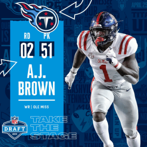 With the #51 overall pick in the 2019 @NFLDraft, the @Titans select WR A.J. Brown! #NFLDraft https://t.co/PTQHpxKbUA: RD  02 51  BROWN  WRI OLE MISS  Cl  DRAFT  2019 With the #51 overall pick in the 2019 @NFLDraft, the @Titans select WR A.J. Brown! #NFLDraft https://t.co/PTQHpxKbUA