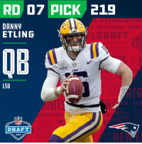The @Patriots select QB Danny Etling with the #219 overall pick in the #2018 #NFLDraft! https://t.co/J9ZRYFBVSI: RD 07 PICK 219  DANN  ETLING  K ON THE CLOCK ON THE  LSU  LDRAFT  DR  QB  Overton's  LSU  L5U  N THE CLOCK  NFL  DRAFT  2018 The @Patriots select QB Danny Etling with the #219 overall pick in the #2018 #NFLDraft! https://t.co/J9ZRYFBVSI