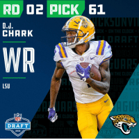 With the #61 overall pick in the 2018 #NFLDraft, the @Jaguars select WR @DJChark82!  📺: NFLN/FOX/ESPN https://t.co/DwBQsjjfLS: RD D2 PICK 61  CHARK  LSU  NFL  DRAFT  2018 With the #61 overall pick in the 2018 #NFLDraft, the @Jaguars select WR @DJChark82!  📺: NFLN/FOX/ESPN https://t.co/DwBQsjjfLS