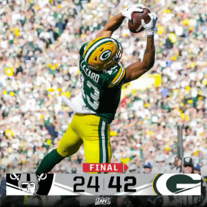 FINAL: @AaronRodgers12 threw 5 TDs for 429 yards, along with 1 rushing TD for the @packers win! #OAKvsGB https://t.co/UzNz9hTQZJ: RD  FINAL  24 42 C FINAL: @AaronRodgers12 threw 5 TDs for 429 yards, along with 1 rushing TD for the @packers win! #OAKvsGB https://t.co/UzNz9hTQZJ