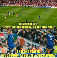 Never forget 😂: rd  Maestro  NY Cuber shotFord  COMMENTATOR  THIS IS TOOFAR FOR RONALDO TO THINKABOUT  8O3 SECONDS LATER  W000000W, ABSOLUTELY·SENSATIONAL ' Never forget 😂
