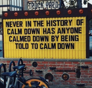 History, Never, and Down: RD  NEVER IN THE HISTORY OF  CALM DOWN HAS ANYONE  CALMED DOWN BY BEING  TOLD TO CALM DOWN