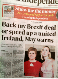 """show me the money: rdepend  Show me the money(  RELAND'S BESTSEL  Independent  Beef erisis, new review  to investigate cash flow  New review of beef sector cash  Farming Independent  Independent.iev  Tuesday, January 15,2019  Back my Brexit deal  or speed up a united  Ireland, May warns  :: New laws on hold in Dáil to  focus on emergency legislation  Kevin Doyle  GROUP POITICAL 1DITOR  pendence - or indeed those  demanding a border poll in  Northern Ireland? Surely this  is the real threat to our union;  she said  INISTERS will today agree  to essentially freeze work on  all new laws as they bid to But her career is now on the  get ahead of a chaotic no-deal line yet again as the Labour  Brexit,  Party prepares to table a  Just six pieces of non-Brexit no-confidence motion in her  ist for the new term, the Irish discuss """"one of the biggest  hat British Prime Minister A decision will be taken  elated legislation have made  it to the Government's priorit  government  The Government will today  Independent understands.  pieces of legislation' ever pro-  duced in this country  th  se  This is an acknowledgement  deeresa May faces a crushing  to severely curtail all new  eat when the Withdrawal legislative plans. Among  greement is put to a vote in the tiny number of excep-  use of Commons today, tions will be bills to allow  a last ditch bid to win for referendums on divorce  he deal, Mrs May and granting votes to Irish  dre  pa  the Ho  by  support for  warned  a no-deal Brexit would citizens overseas next May  a united Ireland, Scot Taoiseach Leo Varadkar  idependence and the also confirmed to the frish  the UK more likely Independent last night that  exp  out  br  imp  to those who think legislation to establish a tribu-  oir of no deal, because for women affected by the  we want, I ask what be prioritised in the weeks  ould reject this deal in nal as an alternative to court  annot get every assur. CervicalCheck scandal will  advi  tee,  Red alert: Scotland's First M"""