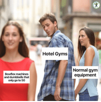 Gym, Memes, and Hotel: RDIO  Hotel Gyms  Normal gym  equipment  Bowflex machines  and dumbbells that  only go to 50 Why are you like this