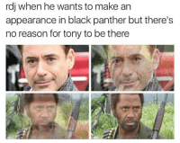 Memes, Black, and Black Panther: rdj when he wants to make an  appearance in black panther but there's  no reason for tony to be there What!! 😂😅😂😅 《J-VO》