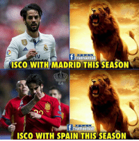 Memes, Spain, and 🤖: RE A L  TrollFootball  ISCO WITH MADRID THIS SEASON  EA  R EAL  T TrollFootbaill  ISCO WITH SPAIN THIS SEASON Isco 🔥🔥🔥