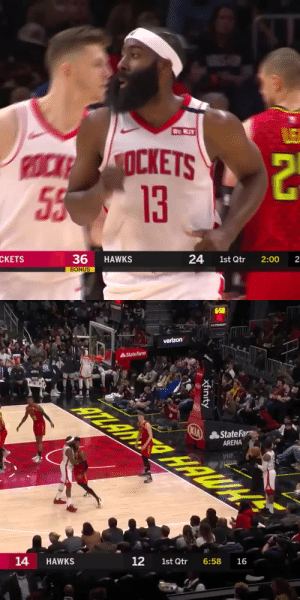 The Beard's 1st Q🔥  22 PTS  6-9 FG 3-5 3PT 7-7 FT 6 AST   https://t.co/BqdGgmfr03: Re KiT  LE  POCK OCKETS  55 13  36  BONUS  24  1st Qtr  CKETS  HAWKS  2:00  2   658  wSTSOT  verizon  StateFarm  HTLAN HALUH  KIA  State Farm  ARENA  BRA  16  6:58  12  1st Qtr  14  HAWKS  xfinity The Beard's 1st Q🔥  22 PTS  6-9 FG 3-5 3PT 7-7 FT 6 AST   https://t.co/BqdGgmfr03