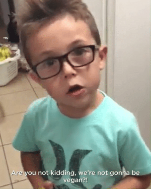 Dank, Vegan, and Boys: re you not kidding, we're not gonna be  vegan?! This little boy's reaction to his mum telling him to not be vegan anymore is eye opening 🙌🌍