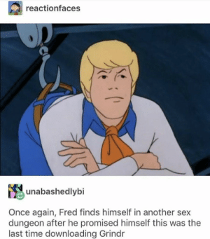 dungeon: reactionfaces  unabashedlybi  Once again, Fred finds himself in another sex  dungeon after he promised himself this was the  last time downloading Grindr