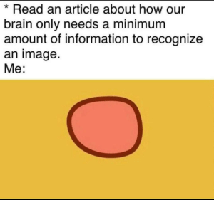 recognize: Read an article about how our  brain only needs a minimum  amount of information to recognize  an image.  Me:
