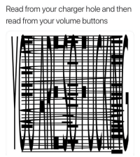 Lost, Charger, and Hole: Read from your charger hole and then  read from your volume buttons <p>A long lost format.</p>