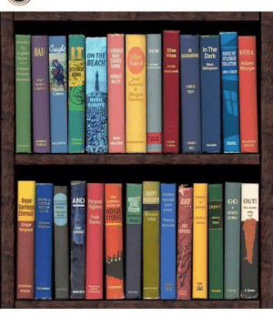 Read the book spines. This is from NPR.: Read the book spines. This is from NPR.