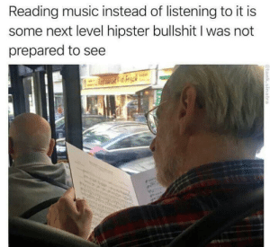 Next fucking level: Reading music instead of listening to it is  some next level hipster bullshit I was not  prepared to see  @tank.sinatra Next fucking level