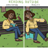 Memes, Reality, and 🤖: READING OUTSIDE  EXPECTATION  REALITY  ne  as  Pedso Fequiere NOT so magical! (By @pblackk) . . . . bibliophile reading bugs bookandchill webcomic