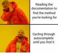 Cycling, Looking, and Editor: Reading the  documentation to  find the method  you're looking for  Cycling through  autocomplete  until you find it When your editor enables your shitty habits