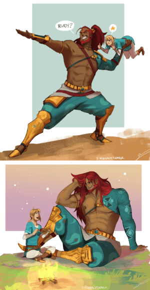 Tumblr, Blog, and Zelda: READY?  5-KINNALY TUMBLR   KINNACYTUMBLR s-kinnaly:  Heeeeey everyone~! It's been a while since I posted something. This is an art trade with an awesome artist @promsien. Sigh, I wish Ganondorf's human form was in the Legend of Zelda, BOTW. What could have been~ TwT Oh well…One can dream, or draw, or write….