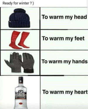 Head, Winter, and Heart: Ready for winter?)  To warm my head  To warm my feet  To warm my hands  To warm my heart  Русски Winter is coming