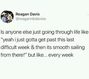 """me irl: Reagan Davis  @reagannbdaviss  Is anyone else just going through life like  """"yeah i just gotta get past this last  difficult week & then its smooth sailing  from there!"""" but like... every week me irl"""
