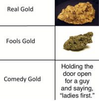 "Memes, Time, and Comedy: Real Gold  Fools Gold  Holding the  door open  for a guy  and saying,  ""ladies first.""  Comedy Gold I actually do this all the time 😂"