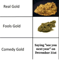 """Comedy, Gold, and Next: Real Gold  Fools Gold  l0  Saying """"see you  next year"""" on  December 31st  10  Comedy Gold"""