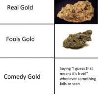 """Memes, Free, and Guess: Real Gold  Fools Gold  Saying """"I guess that  means it's free!""""  whenever somethirng  fails to scan  Comedy Gold <p>Why do I feel fools gold and comedy gold should be switched?</p><p><b><i>You need your required daily intake of memes! Follow <a>@nochillmemes</a> for help now!</i></b><br/></p>"""