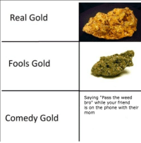 """Phone, Weed, and Comedy: Real Gold  Fools Gold  Saying """"Pass the weed  bro"""" while your friend  is on the phone with their  mom  Comedy Gold"""