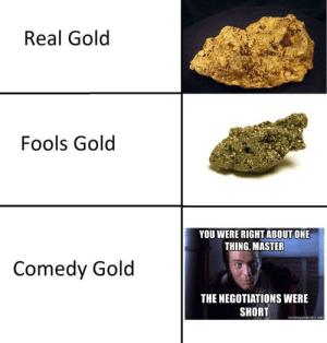 Comedy, Gold, and Fools Gold: Real Golod  Fools Gold  YOU WERE RIGHT ABOUT ONE  THING, MASTER  Comedy Gold  THE NEGOTIATIONS WERE  SHORT  memegenerator.ne !ereht olleH