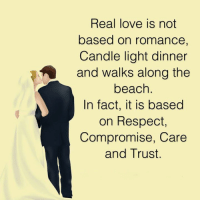 Facts, Love, and Memes: Real love is not  based on romance,  Candle light dinner  and walks along the  beach.  In fact, it is based  on Respect  Compromise, Care  and Trust.