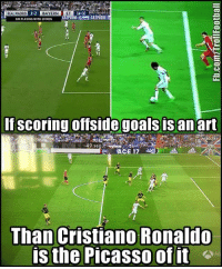 Cristiano Ronaldo, Goals, and Memes: REAL MADRID  BAYERN ET  BM PLAYING WITHIOMEN  If scoring offside goals is an art  -49 sega  ACE 17  Than Cristiano Ronaldo  is the Picasso of it 😂😂