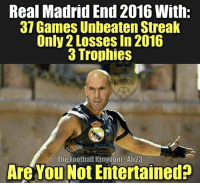 Zinedine Zidane be like: Real Madrid End 2016 With:  37 Games Unbeaten Streak  Only 2 Losses In 2016  3 Trophies  The Football Kingdom Ali23  Are You Not Entertained? Zinedine Zidane be like