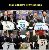 True story 😂😂: REAL MADRID'S NEW SIGNINGS  MBAPPE  20  NEYMAR JR  es  EXPECTATIONS  BRAHIM  2  MARIANO  VINICIUS 1R.  f o @AZRORGANIZATION True story 😂😂
