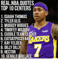 Nba, Quotes, and Gerald Wallace: REAL.NBA.QUOTES  TOP 10 CENTERS  5  3  1. ISAIAH THOMAS  2. TYLER ULIS  3. MUGGSY BOGUES  5, CUDDLE TEAM LEADER  6, EATDATPUSSY445  7. KAY FELDER  8. DILLY DILLY  9. HECTOR  10. GERALD WALLACE Our Top 10 Centers! Who should be higher/lower?