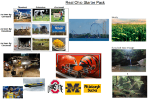 Starter Packs, Cleveland, and Good: Real Ohio Starter Pack  Cincinnati  Cleveland  Columbus  As Seen By:  Cleveland  HILLBILLY  DAYS  Mostly  ELCOME TE  Kentucry  As Seen By:  Columbus  Birthelece ef 62rehen Uncele  As Seen By:  Cincinnati  If you look hard enough:  &  HUSTE  GOOD YEAR  Pittsburgh  Sucks  MICHIGAN SUCKS!  TAKERS  23 The Real Ohio Starter Pack