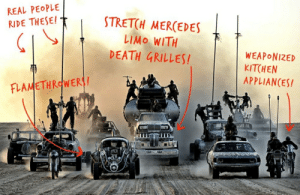 Mercedes, Mad Max, and Death: REAL PEOPLE  STRETCH MERCEDES  RIDE THESE!  LIMO WITH  DEATH GRILLES!  WEAPONIZED  KITCHEN  APPLIANCES!  FLAMETHROWERI! Was just scrolling through the Mad Max posts... Came across this.