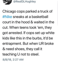 Basketball, Bored, and Chicago: RealDLHughley  Chicago cops parked a truck  #Nike sneaks at a basketball  court in the hood & waited in the  cut. When teens took 'em, they  got arrested. If cops set up white  kids like this in the burbs, it'd be  entrapment. But when UR broke  & need shoes, they call it  teaching U not to steel  8/8/18, 2:27 AM  of Damn they just that bored huh